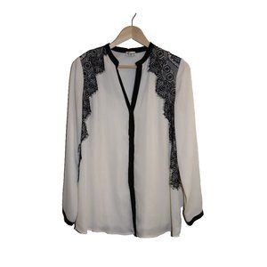 Thyme White Black Lace Long Sleeve Blouse Top